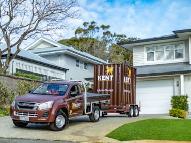 Kent mobile storage unit parked in a driveway
